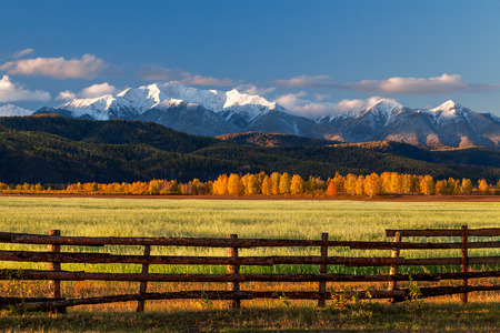 Green field with fence against snow mountains at sunrise Stock Photo