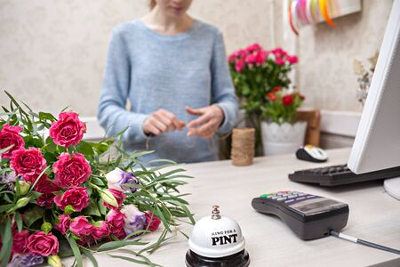 flower seller: Woman seller working at flower shop