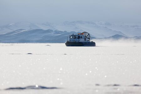 hovercraft: Snow air motion boat goes on big snow field