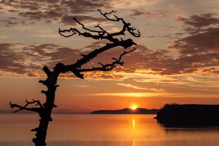 brilliant colors: Sunrise above Baikal lake with brilliant colors Stock Photo