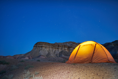 Lonely evening camping in canyons