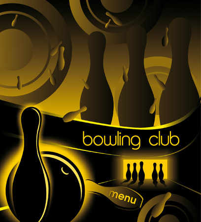 Creative background for advertising and menu bowling club in the fashionable trend Vector