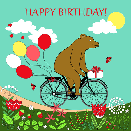 goes: Happy bear rides a bike. Bear on a bicycle with baloons and present. Happy bear goes to see his friend. happy birthday card.