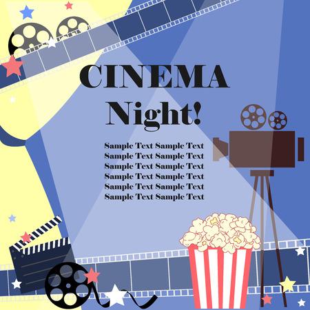 Cinema night background. Flat movie background with cinema attributes. Film strip, camera, reel, popcorn, and stars.