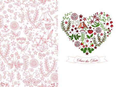 romantic date: Save the date set from floral seamless pattern and heart shape from flowers, leaves, and birds couple. Romantic background