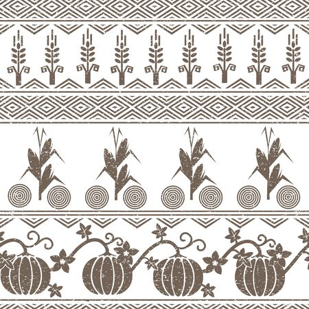 corne: Stylized seamless background with wheat and corn grain, pumpkins, and native ameriacn indians symbols.