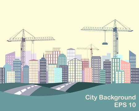 horison: Urban background. City silhouette with buildings and cranes. Road and city on the horison