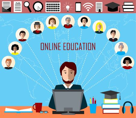 Tutor and his online education group on the world map background. Concept of distance education and e-learning. Tutor instructs students from different countries. Education and sciense icons.