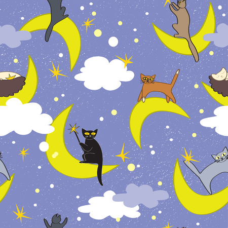 moons: Cats seamless pattern. Cats sitting on moons in different poses. Fairy night background.