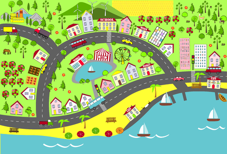 suburbs: Urban and suburbs landscape. Map design for mats, books, and childish development.