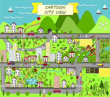 mountain view: Urban landscape Map design for mats, books, and childish development. Top city view Illustration