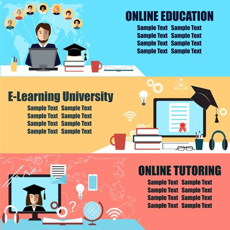 tutorials: Online education flat horizontal banner set with distance tutorials and training elements.