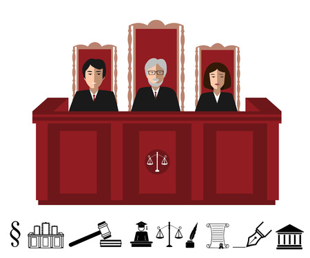 proceeding: Three judges sitting at the court judge table and judiciary icon set. Justice vector illustration with black and white judgeship icons set