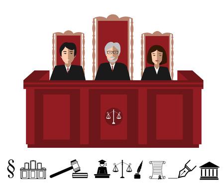 Tre giudici seduti al tavolo insieme giudice e l'icona magistratura. illustrazione vettoriale con la giustizia in bianco e nero icone judgeship set Archivio Fotografico - 62202026