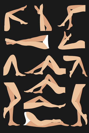 Woman legs in different poses set. Elegant lying, standing, and sitting legs positions. Straight and crossed legs. Legs design elements.