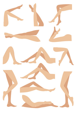 Woman legs in different poses set. Elegant lying, standing, and sitting legs positions. Legs design elements. Woman legs silhouettes.