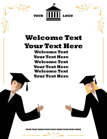 academia: Invitation banner for high schools and universities Smilingstudents welcome to university event. Illustration