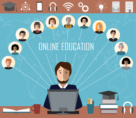 instructs: Tutor and his online education group on the world map background. Concept of distance education and e-learning. Tutor instructs students from different countries. Illustration