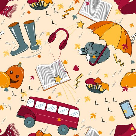 attributes: Seamless pattern with autumn attributes. Illustration