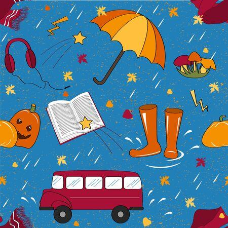 attributes: Seamless pattern with autumn attributes. Illustration