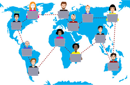Concept of distance education and e-learning. Tutor instructs students from different countries.