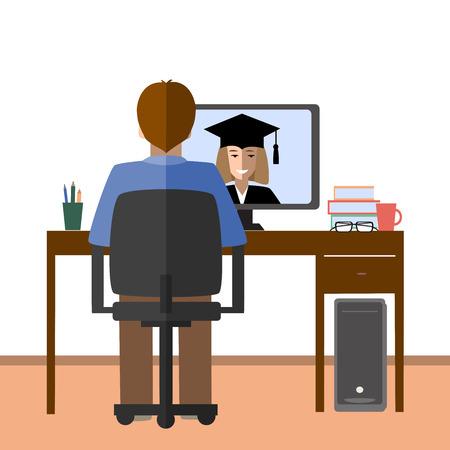 via: Talk through the Internet. Student and tutor communicate via Internet. Illustration