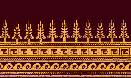 meander: Ethnic seamless pattern with wheat, meander, and water symbols. Illustration