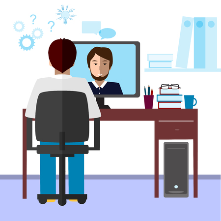 communicate: Talk through the Internet. Student and tutor communicate via Internet. E-learning, distance and online education concept. Illustration