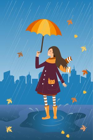 wellingtons: Happy girl with umbrella on the rainy city background.
