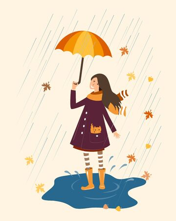 wellingtons: Happy girl with umbrella on the rainy background.