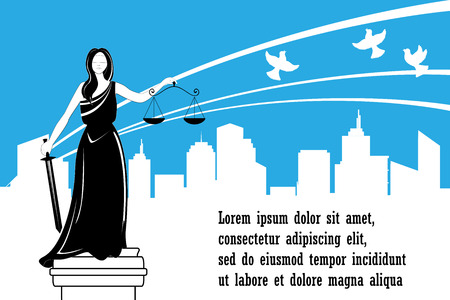Goddess of justice Themis on the city background. Goddess of justice Femida with balance and sword. Themis statue and happy city behind