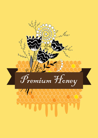 Vector hand drawn honey label with comb and flower bunch.