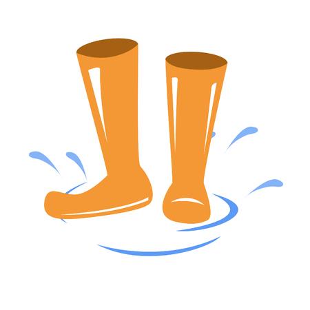 Botas de goma de vectores. Wellington icono de botas. salpicaduras de agua y botas Ilustración de vector