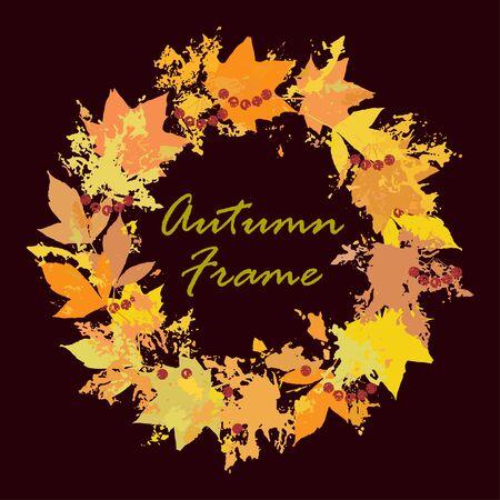Autumn leaves circlet frame. Leaves imprints circle
