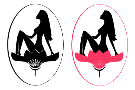 Beauty salon logo. Beauty woman sitting in a lotus flower.