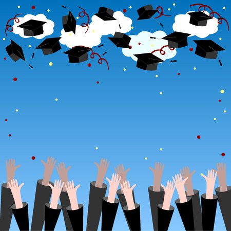 Graduate Hands Throwing Up Graduation Hats. Graduation Background. Graduation Caps in the Air. Vettoriali