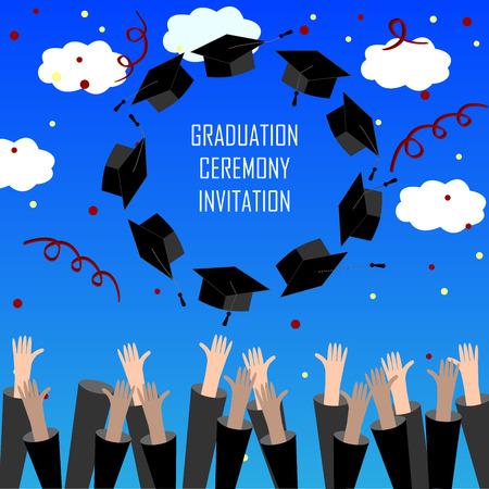 Graduate Hände werfen Abschluss-Kappen. Abschluss-Hintergrund mit Platz für Text. Abschlusskappen in der Luft.