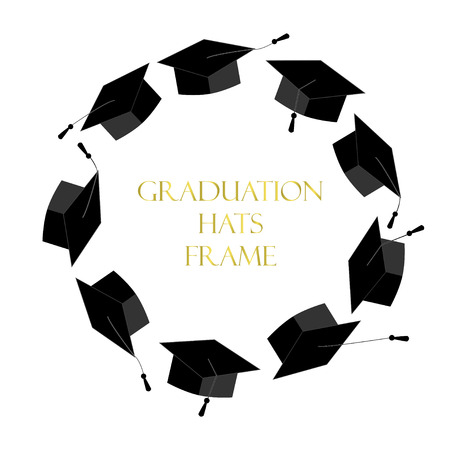 doctorate: Circle frame from graduation caps. Place for text. Graduate background