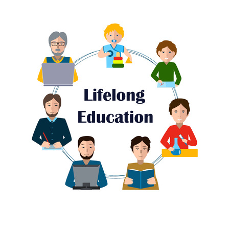 Lifelong Education Concept. Studying Man of all Generations. Ability to learn in each human age. Preschool, Primary School, Secondary School, Bachelor and Master at University, PhD, Postdoctoral Study