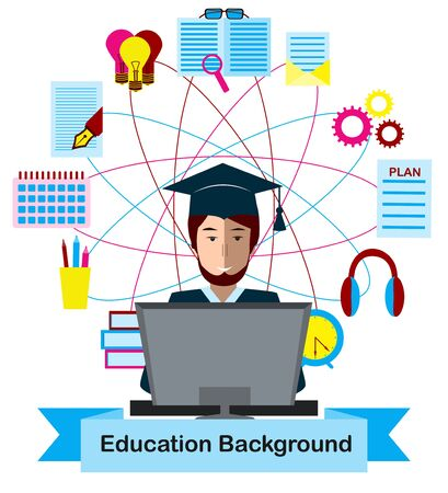 Ausbildungskonzept mit High-School-Schüler und Bildung Icons. Vektorgrafik