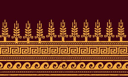 meander: Ethnic seamless pattern with wheat, meander, and water symbols