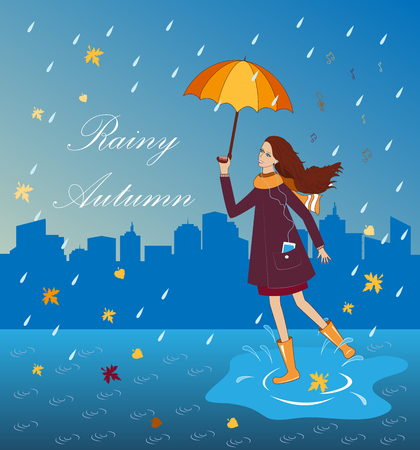 wellingtons: Pretty girl listening to music with an umbrella. Happy woman