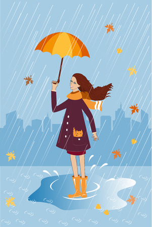 wellingtons: Pretty girl with a cat in pocket under umbrella.