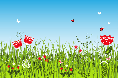 uncultivated: Summer positive landscape. Meadow vector
