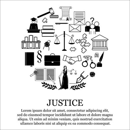 femida: Legal, law and justice icon set. Circle shape banner Illustration