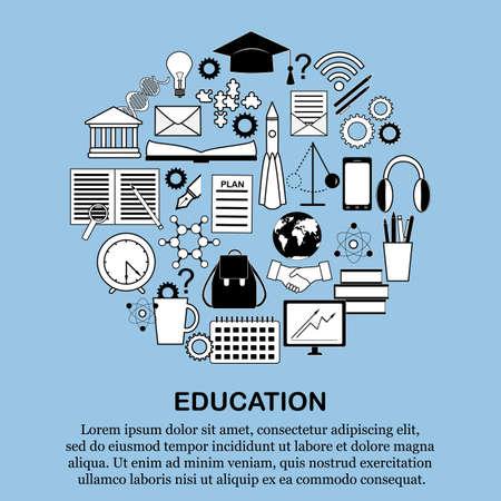 Circle shape education icons set.