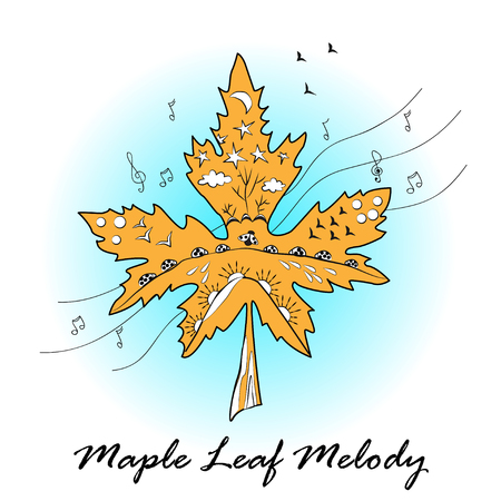 ornamented: Maple leaf ornamented in autumn mood. Maple Leaf melody print Illustration