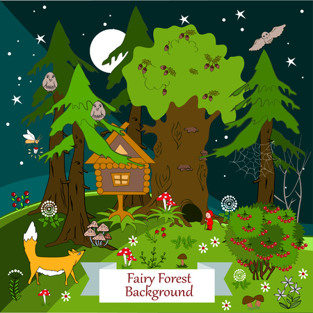 fairy forest: Night fairy forest background