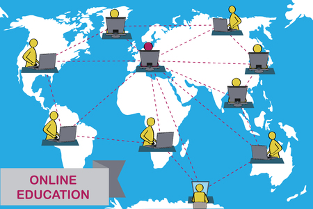 Concept of distance education and e-learning. Tutor instructs students from different countries. Earth map background. European variant of teacher.