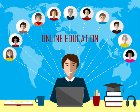 Tutor and his online education group on the world map background. Concept of distance education and e-learning. Tutor instructs students from different countries. Illustration